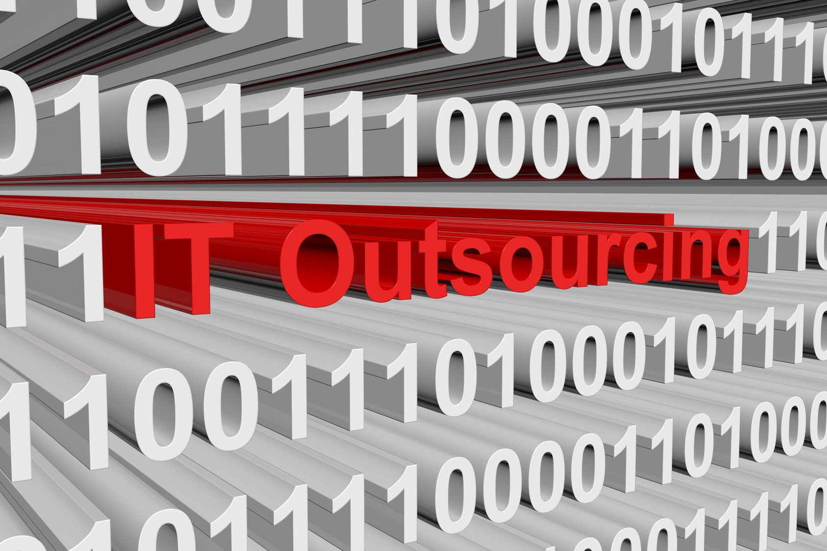 IT outsourcing is presented in the form of binary code